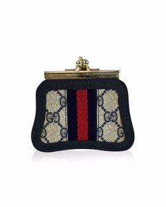 Gucci Vintage Blue Monogram Canvas Coin Purse With Stripes