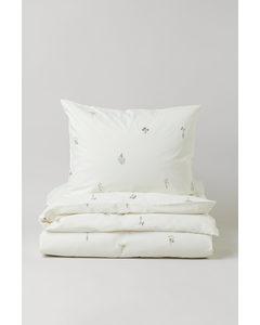 Gemusterte Bettwäsche für Einzelbett Weiß/Geblümt
