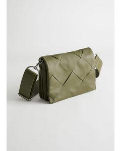 Leather Diamond Braided Crossbody Bag Khaki Green