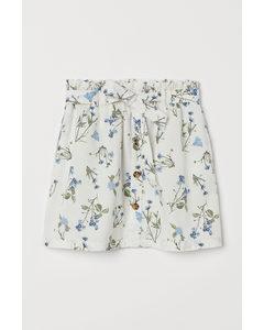 Paperbagrok Gebroken Wit/blauw Bloemen