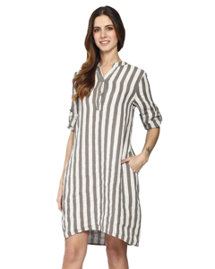 Pure Linen Striped Shirt Dress