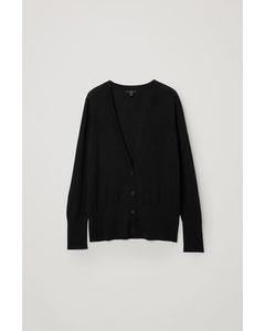 Merino Wool Deep V-neck Cardigan Black