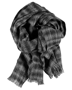 Scarf Textured Check Dark Grey