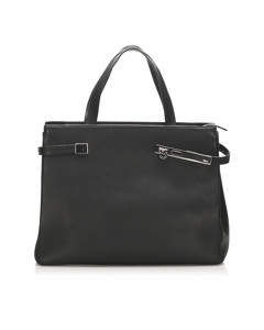 Ferragamo Gancini Leather Tote Bag Black