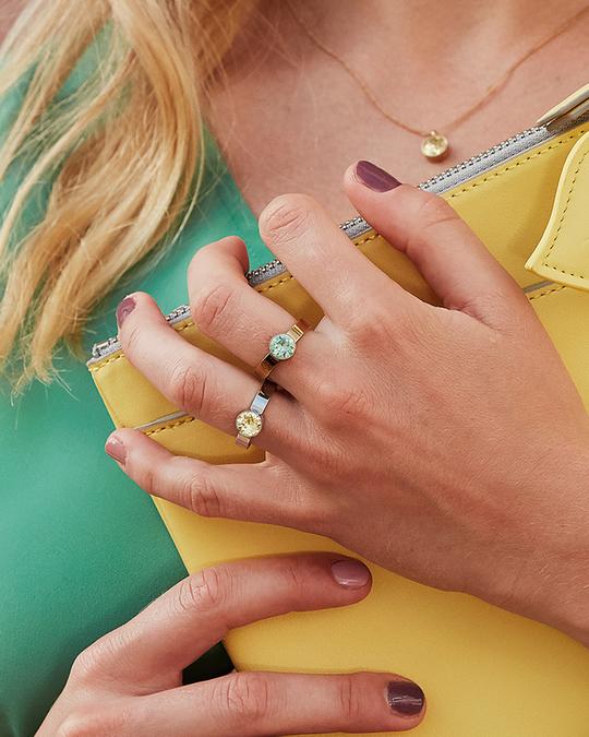 Edblad Diana Ring Pool Blue Crystal Gold