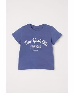 T-shirt Met Print Blauw/new York City