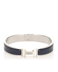 Hermes H Click Crack Bracelet Bangle Silver