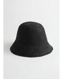 Straw Bucket Hat Black