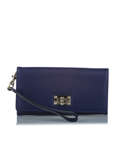 Valentino Leather Long Wallet Blue