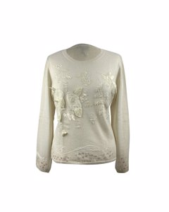 Donnamia Vintage Ivory Silk Cashmere Embellished Sweater Size M
