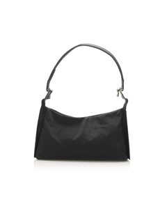 Ferragamo Gancini Nylon Shoulder Bag Black