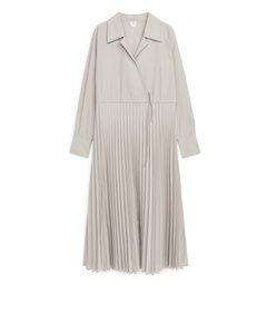 Pleated Wrap Dress Beige