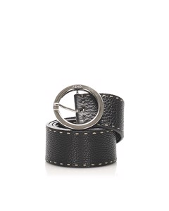 Fendi Selleria Leather Belt Black