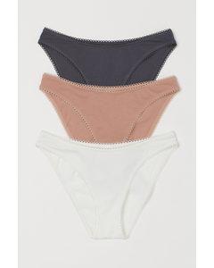 3er-Pack Jerseyslips Bikini Weiß/Dunkelgrau/Hellbeige