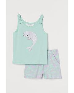 2-teiliges Baumwollset Helltürkis/Delfin