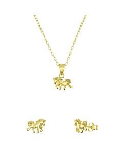 Kinder-Schmuckset, 925 Silber, vergoldet, Pferd