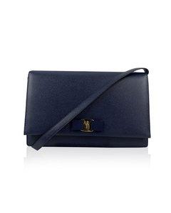 Salvatore Ferragamo Blue Leather Ginny O Bow Large Mint Shoulder Bag