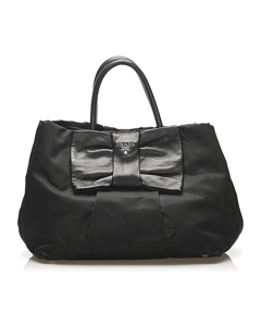 Prada Tessuto Bow Handbag Black