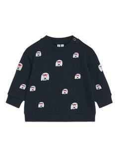 Oversize-Sweatshirt mit Stickerei Dunkelblau