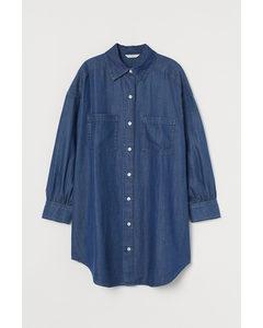 Lange Denim Overhemdblouse Denimblauw