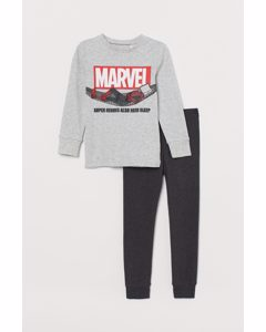 Bedruckter Pyjama Hellgrau/Spiderman