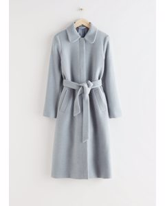 Mantel aus Wollmix mit Gürtel Hellblau
