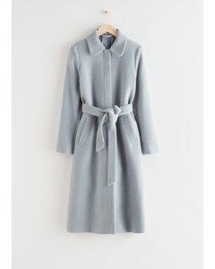 Belted Wool Blend Coat Light Blue