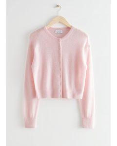 Alpaca Blend Knit Cardigan Pink