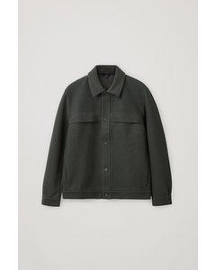 Regular-fit Felt Jacket Dark Green