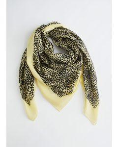 Leopard Print Light Wool Scarf Neon Yellow