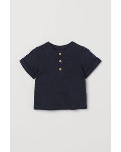 T-Shirt mit Knopfleiste Dunkelblau