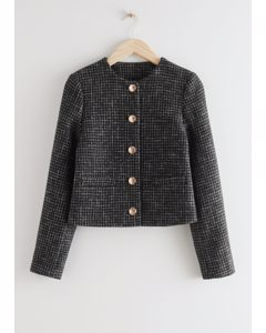 Cropped Gold Button Suit Jacket Black Tweed