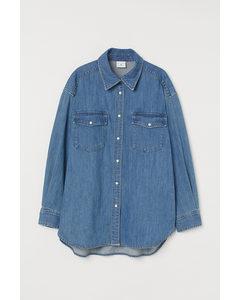 Oversized Jeansbluse Blau