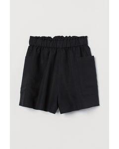 Shorts in Leinenmix High Waist Schwarz