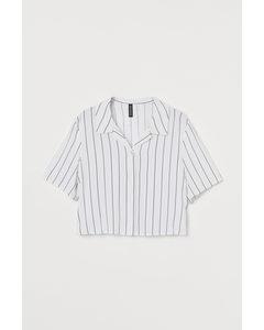 Cropped Bluse Weiß/Gestreift