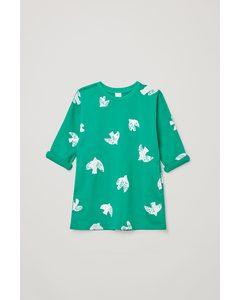 A-line Printed Dress Bright Green