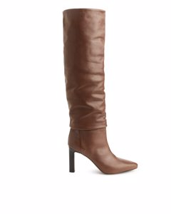 Knee-high Slouch Leather Boots Brown