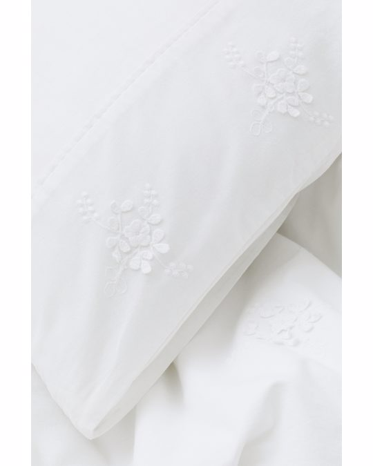 H&M HOME Embroidered Duvet Cover Set White
