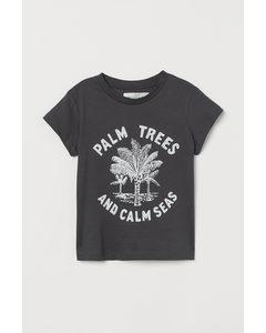T-Shirt mit Druck Dunkelgrau/Palmen