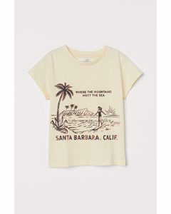 T-shirt Med Tryck Ljusgul/california