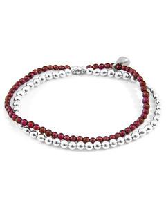 Rote Granat Harmonie Silber Und Naturstein Armband