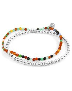 Mehrfarbige Achat Harmonie Silber Und Naturstein Armband