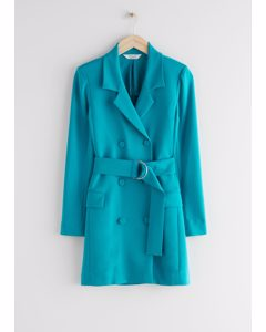 D-ring Belted Mini Blazer Dress Turquoise