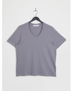 V-neck Short Sleeve T-shirt Grey