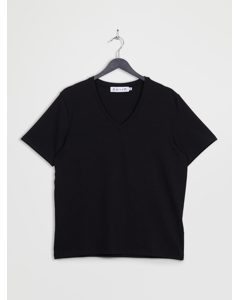 V-neck Short Sleeve T-shirt Black
