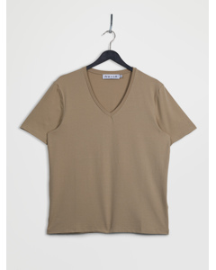 V-neck Short Sleeve T-shirt Beige