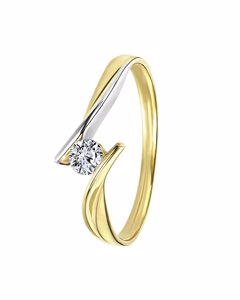 9 Karaat Bicolor Ring Met Zirkonia