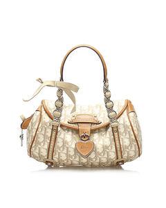 Dior Trotter Romantique Coated Canvas Handbag Brown