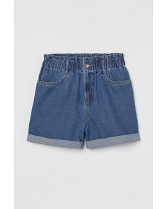 Paperbag-Shorts aus Denim Blau