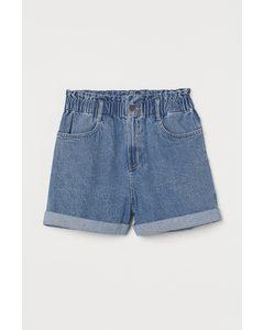 Paperbag-Shorts aus Denim Hellblau
